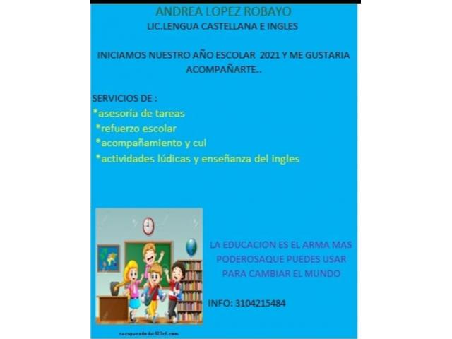 Asesorías de tareas a niños, cuidado, enseñanza del inglés